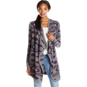 Lucky brand Tribal waterfall open front cardigan